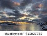 sunset at henningsvaer... | Shutterstock . vector #411821782