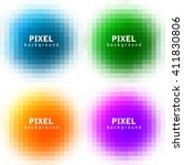 Set Of Abstract Pixel Colorful...
