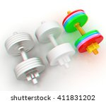 colorfull dumbbells on a white... | Shutterstock . vector #411831202