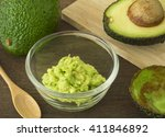 cup mashed avocado. and avocado ... | Shutterstock . vector #411846892