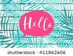 tropical palm leaves pattern on ... | Shutterstock .eps vector #411862606
