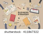business strategy picture in... | Shutterstock .eps vector #411867322