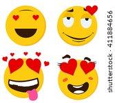 emoticon set 1. emoticon vector ... | Shutterstock .eps vector #411884656