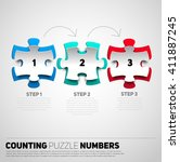 one two three puzzle papercut ... | Shutterstock .eps vector #411887245