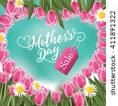 mothers day sale heart and... | Shutterstock . vector #411891322