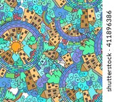 abstract doodle city background ... | Shutterstock .eps vector #411896386
