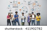global communication digital... | Shutterstock . vector #411902782