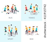 physical activity people... | Shutterstock .eps vector #411915742
