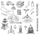 collection of hand drawn... | Shutterstock .eps vector #411915982
