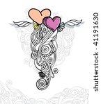 Heart of love / doodle vector illustration - stock vector