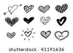 doodles hearts set / vector - stock vector