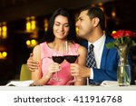 beautiful young couple with... | Shutterstock . vector #411916768
