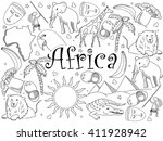 africa coloring book line art...   Shutterstock .eps vector #411928942