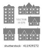 vintage house icon set. vector... | Shutterstock .eps vector #411929272