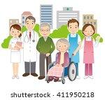 wheelchair elderly women and... | Shutterstock . vector #411950218
