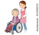 wheelchair elderly women and...   Shutterstock . vector #411950272