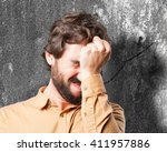 crazy man.funny expression | Shutterstock . vector #411957886