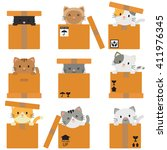 Stock vector kitty inside boxes packages collection in white background 411976345