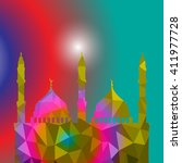 beautiful religious eid... | Shutterstock .eps vector #411977728
