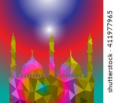 beautiful religious eid... | Shutterstock .eps vector #411977965