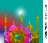 beautiful religious eid... | Shutterstock .eps vector #411978055