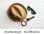 overhead view of men's casual... | Shutterstock . vector #411981316