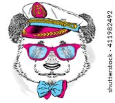 funny panda in the captain's... | Shutterstock .eps vector #411982492