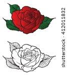 tattoo rose design element   Shutterstock .eps vector #412011832