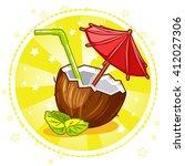 exotic coconut cocktail. set...   Shutterstock .eps vector #412027306