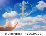 crucifix or cross and god light ... | Shutterstock . vector #412029172