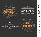 ice cream shop design labels.... | Shutterstock .eps vector #412051576