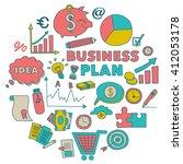 vector set of doodle business... | Shutterstock .eps vector #412053178