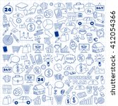 vector set of doodle business... | Shutterstock .eps vector #412054366
