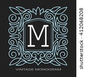 vintage vector monogram. the...   Shutterstock .eps vector #412068208