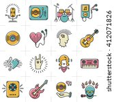 thin lines music icons set.... | Shutterstock .eps vector #412071826