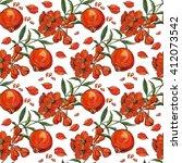 ripe pomegranate flower pattern.... | Shutterstock . vector #412073542