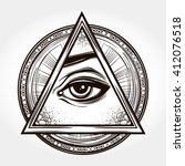 hand drawn eye of providence.... | Shutterstock .eps vector #412076518
