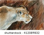 hunting lioness   watercolor... | Shutterstock . vector #412089832