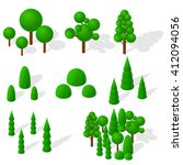 isometric trees  firs and...   Shutterstock .eps vector #412094056