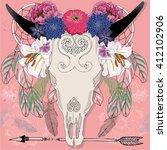 bo ho illustration  cow skull ... | Shutterstock .eps vector #412102906