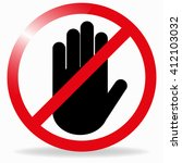 hand in a red circle.  ban... | Shutterstock .eps vector #412103032