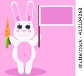 white cute rabbit holding...   Shutterstock .eps vector #412104268