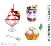 watercolor food clipart   ice...   Shutterstock . vector #412126042
