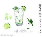 Watercolor Food Clipart   Mojito