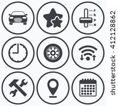 clock  wifi and stars icons.... | Shutterstock .eps vector #412128862