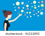 young woman and balls   Shutterstock .eps vector #41213092