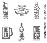 set of black and white beer... | Shutterstock .eps vector #412154356