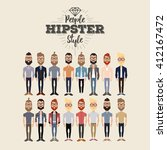 set of hipster men on a white... | Shutterstock .eps vector #412167472