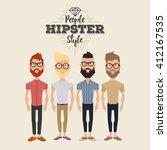 set of hipster men on a white... | Shutterstock .eps vector #412167535
