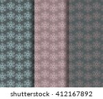 set of 3 floral seamless... | Shutterstock .eps vector #412167892